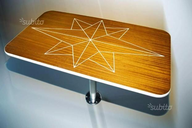 Tavolino barca in teak o iroko, star table