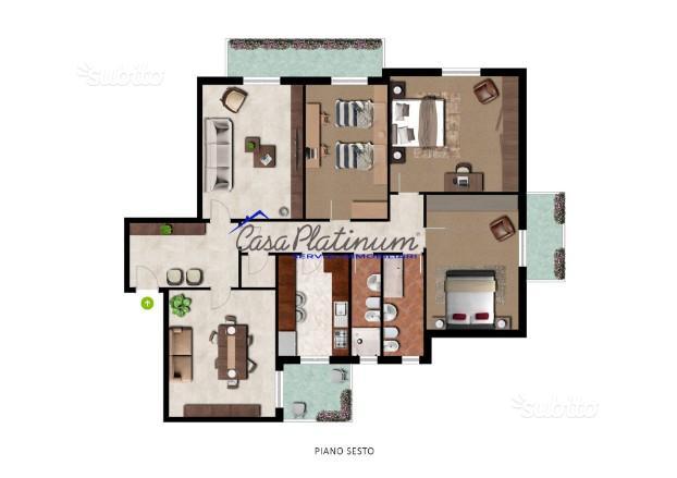 150mq con tre camere matrimoniali e doppi servizi