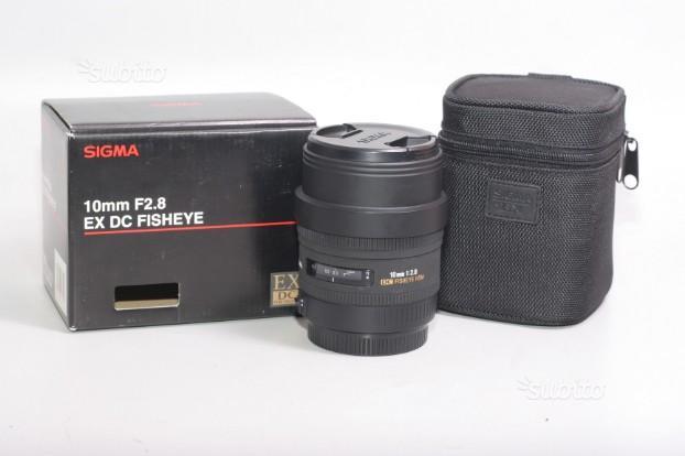 Obiettivo sigma 10 mm f/2.8 ex dc fisheye hsm.cano