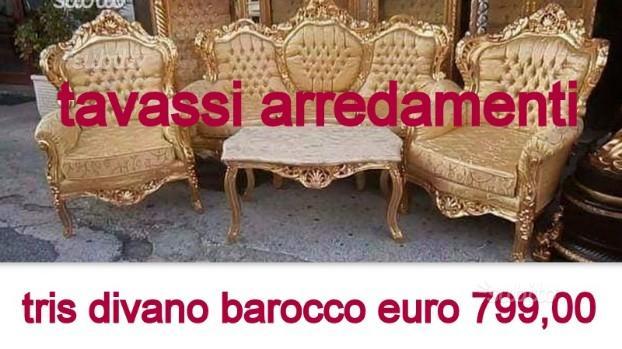 Tris divano barocco oro foglia originale