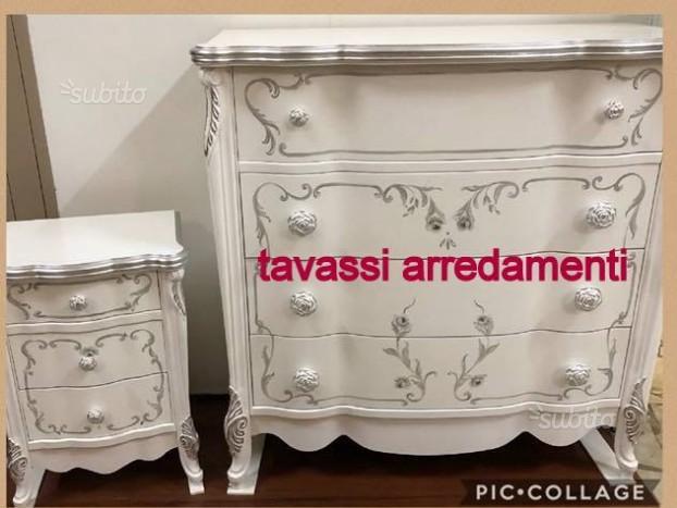Trittico legno bianco e argento