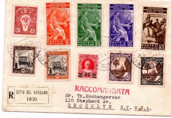 Storia postale busta vaticano e annullo piroscafo