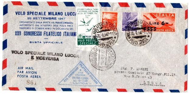 Aviazione lotto 2 voli 1947 lucca-milano mi-lucca