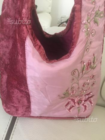 Piccola borsa velluto e raso con ricamo