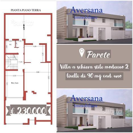 Parete-Villa Schiera Stile Moderno 2 livelli