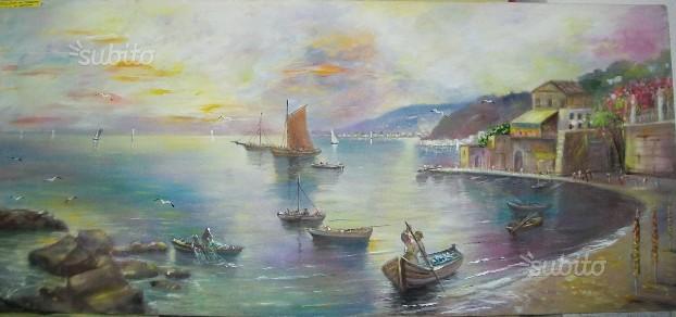Dipinto olio su tela - tramonto in costiera