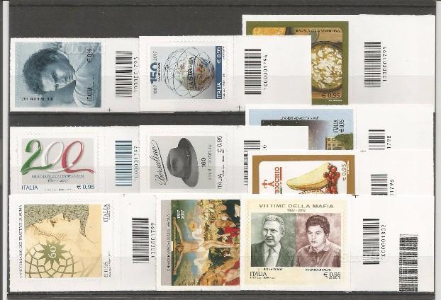 Primi 10 francobolli del 2017 con CODICI a BARRA