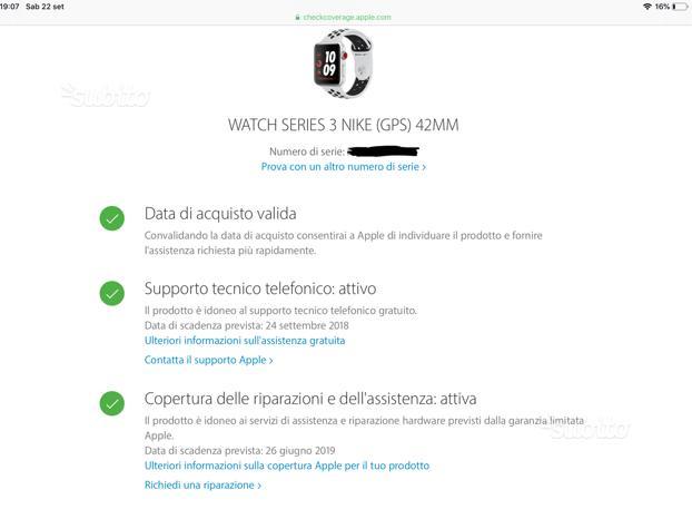 Apple watch serie 3 42mm nike