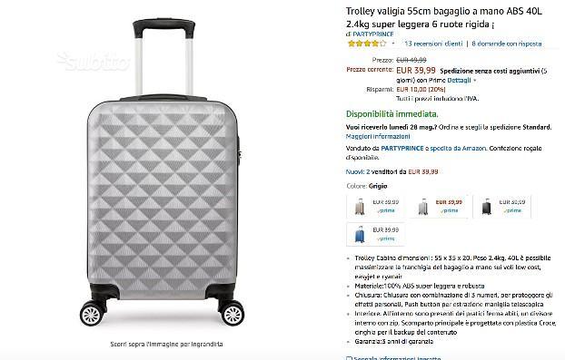 Trolley valigia 55cm bagaglio a mano ABS 40L 2.4kg