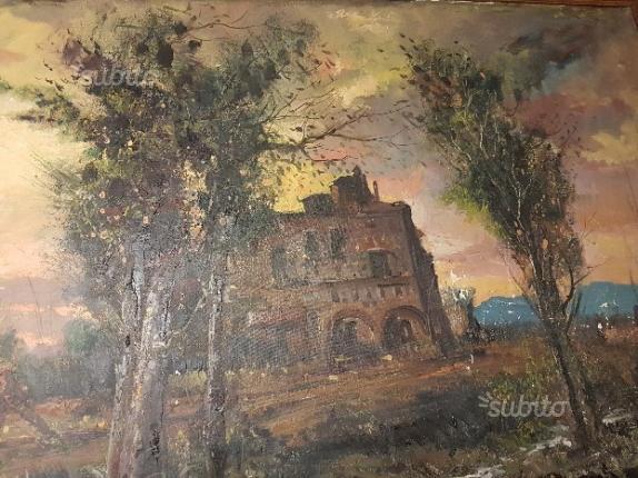 Antico e grandissimo olio su tela firmato