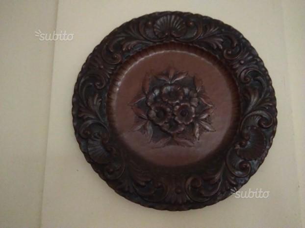 Grande piatto antico in rame da parete/ da tavolo