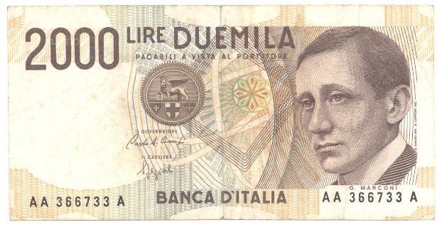 2000 lire marconi TRIPLA AA A serie AA366733A
