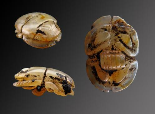 Egyptian chalcedonian crystal scarab amulet