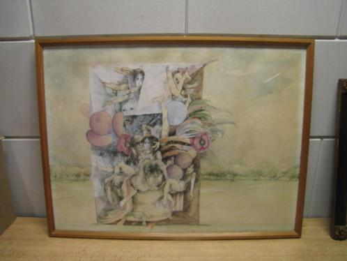5871 - aquarel inkt Joost Roelofsz 1965 gesigneerd - € 75