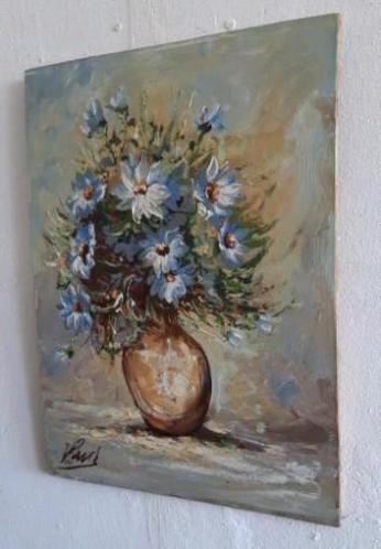 Oud Schilderij ,olieverf op paneel,bloemen ,blauw,gesigneer