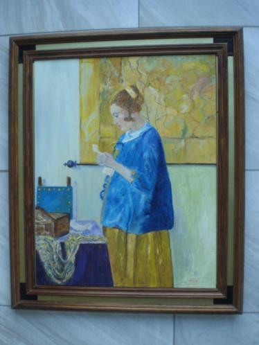 Portret vrouw, vrij naar Johannes Vermeer