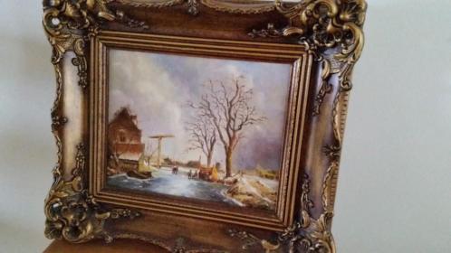 Mooi schilderij met winters tafereel