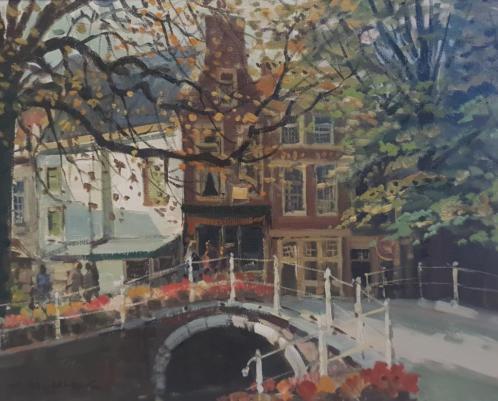 Daniel Mühlhaus (1907-1981) - Bruggetje over een stadsgracht
