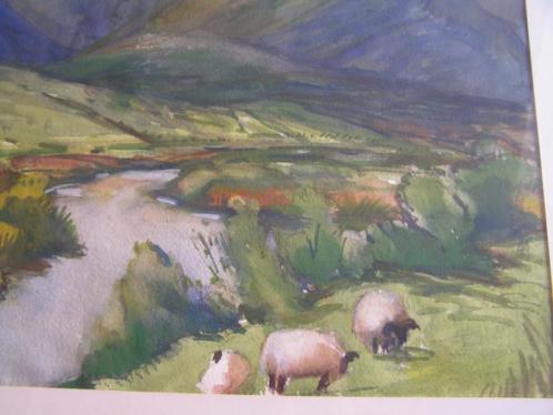 Berglandschap met schapen. Aquarel