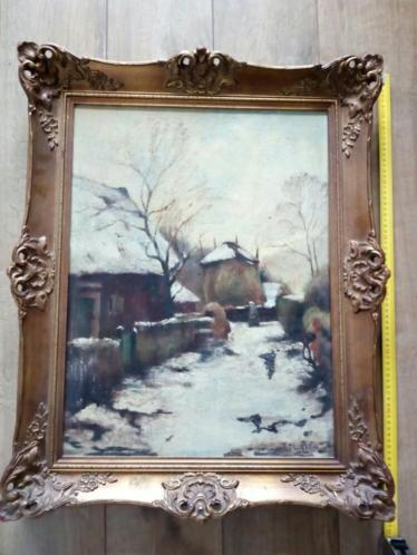 Winters landschap van Boerderij - W.A. Knip
