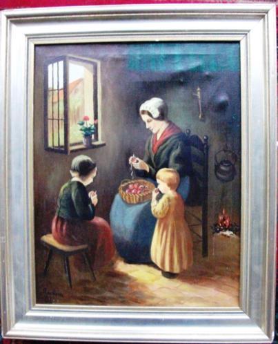 Moeder met kinderen - gesigneerd - doek - gelijst