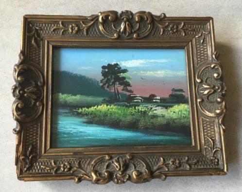 Miniatuur landschapje handgeschilderd op papier ingelijst