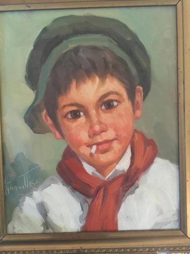 Portret rokende jongen met pet