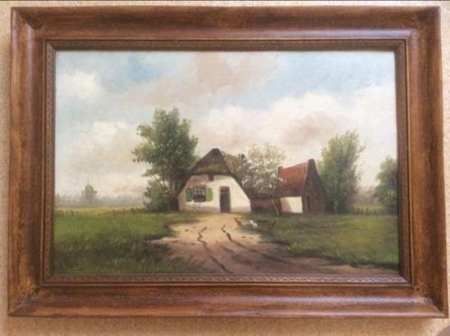 Oud schilderij landelijk boerderij