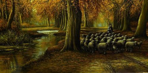 CH Beltman 1920 olieverfschaap schapen herder 50cm x 70cm