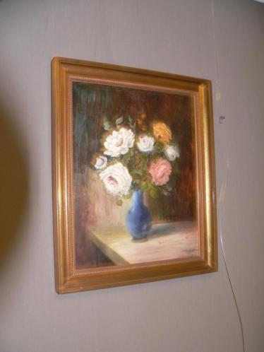 vaas met bloemen schilderij gesigneerd met otter