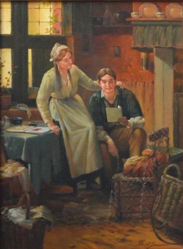 """"""" Interieur """" Olieverfschilderij van Theo van der Smissen"""