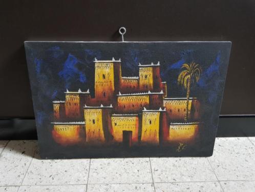 Marokkaanse schilderij van een kasteel/ kasbah. (Ouarzazate)