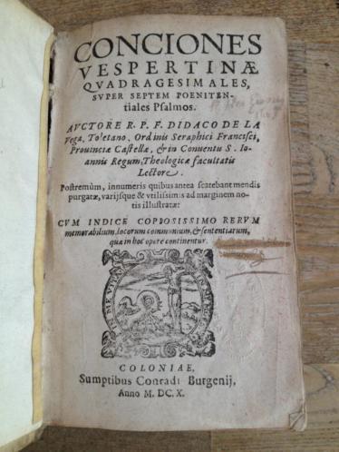 Diego de la Vega Conciones super Psalmos 1620 perkament