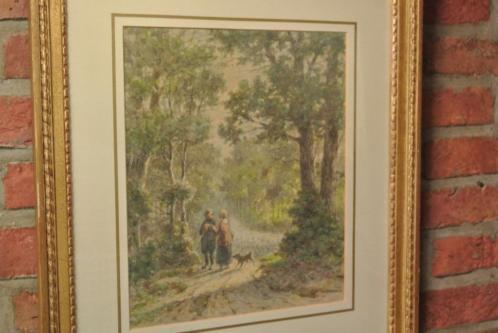 Th.Soeterik 1810-1883 Wandelende Pers./Hond/Bosgez.