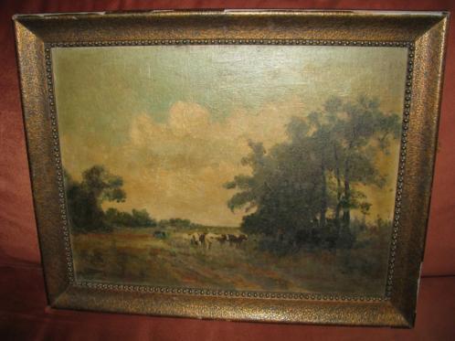 Koeien in de natuur landschap, oud schilderij, olieverf