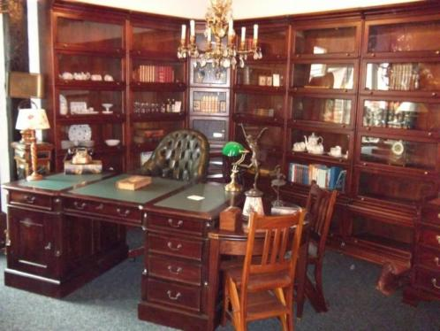 Mahonie boekenkast bibliotheekkast notariskast kantoor buro