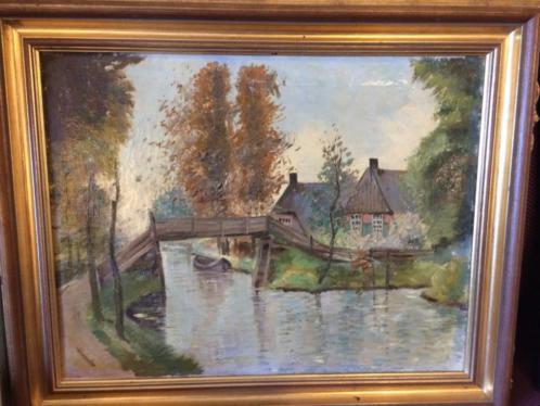 Schilderij Giethoorn met lijst op linnen Bieshaar Baarn