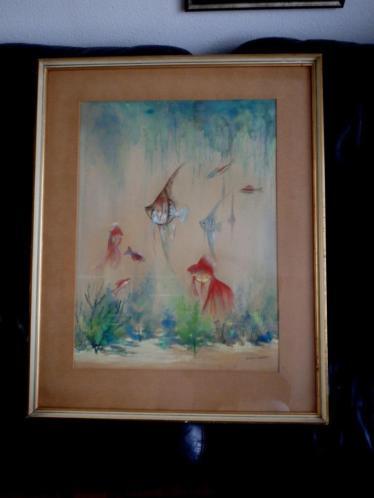 vissen in het aquarium - Henri Taverne 1896-1965