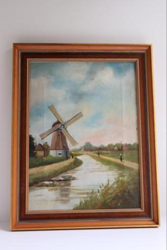 Schilderij molenlandschap, gesigneerd