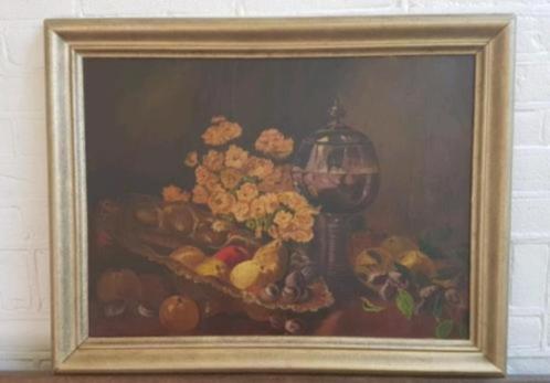 Heel oud olieverf stilleven wijnglas fruit v. Vaalen