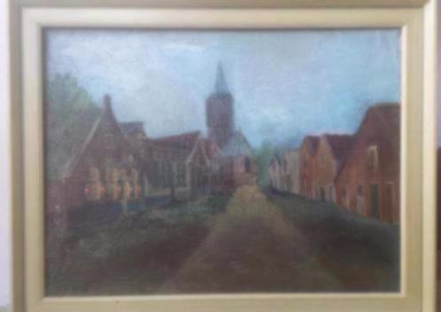 Olieverf Kerkstraat Eemnes J. F. Sterre de Jong (1866-1920).