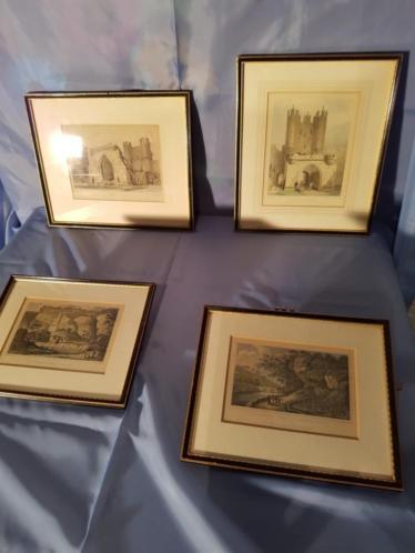 4 antiek Engelse schilderijen