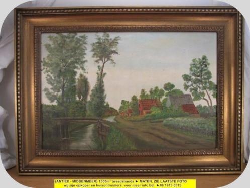 8966 - schilderij R. de Leur landweg met brug - € 45