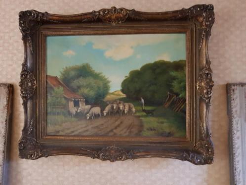 Oud olieverfschilderij van D J Mooij
