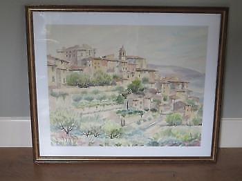 Originele aquarel, landschap, gesign. R. Dumax, '60 jaren