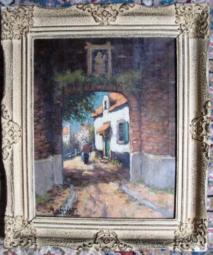 Poortdoorgang ca. jaren '40 - A van Gilst - doek - gelijst