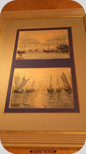 1308 - dubbel schilderij boten gesign. Ruyter - € 35