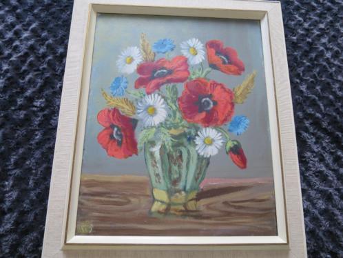 mooi geschilderd op linnen klaprozen/margrieten 50/60 cm