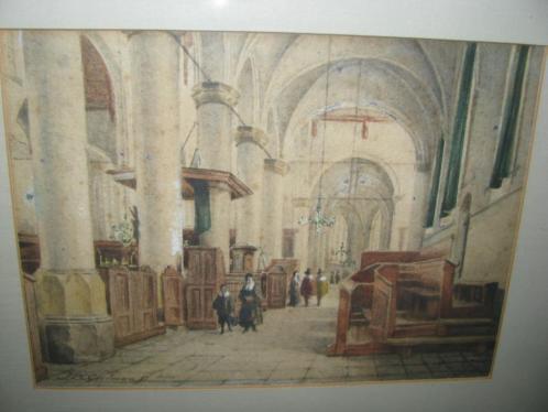 J.P.C. Grolman (1841-1927), kerkinterieur, waterverf papier