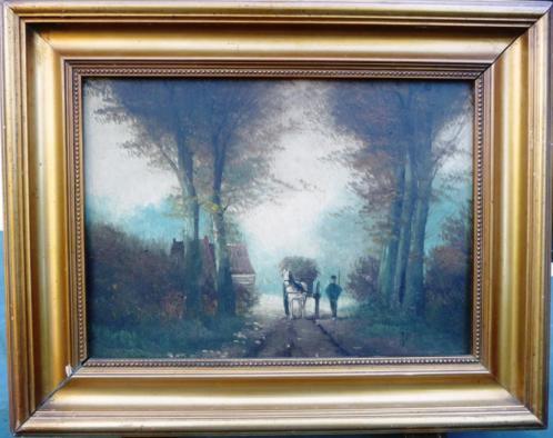 oud - Boer met paard ca. 1920 - gesigneerd - paneel - gelyst